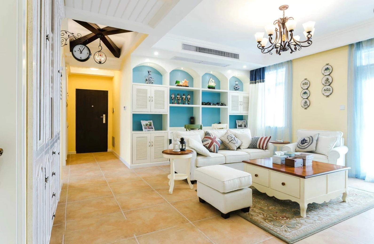 清新地中海风格两居室客厅过道设计装饰图