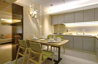 清新简约北欧风格餐厨房一体设计图