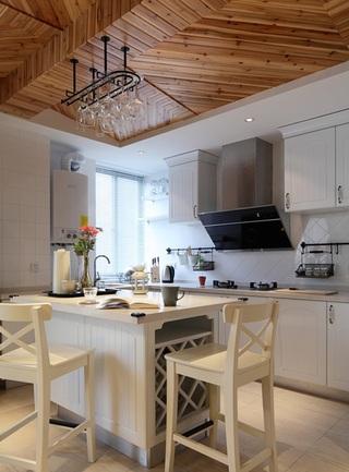 休闲北欧田园风家居厨房实木吊顶装修
