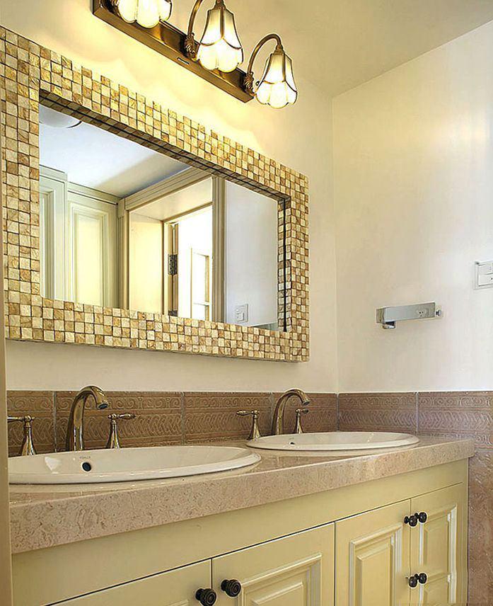 浅绿色清新田园复式卫生间马赛克浴室镜框设计图