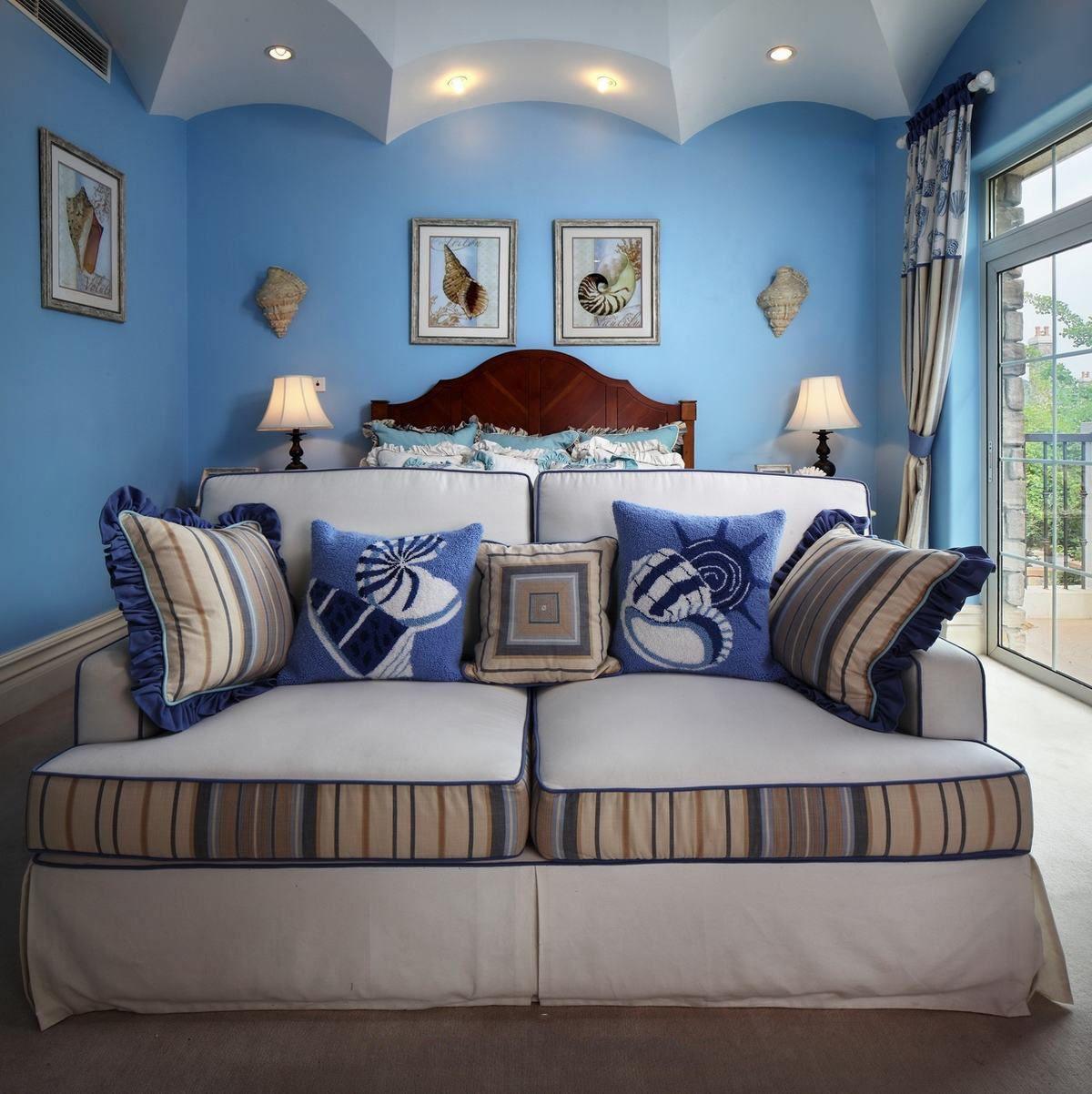 蓝色地中海风格别墅客厅双人沙发效果图