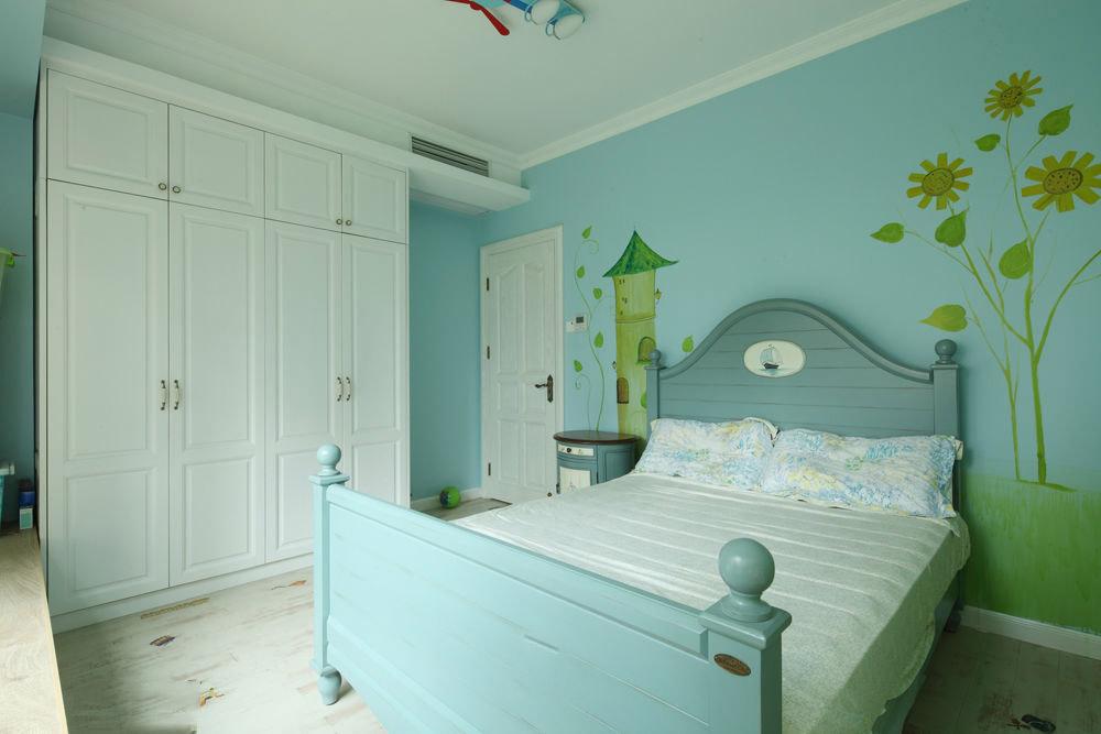 蓝色童趣美式简约儿童房设计图大全