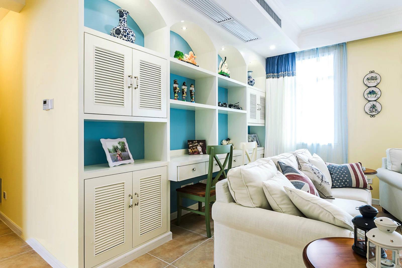 清新地中海风格客厅柜设计装修效果图