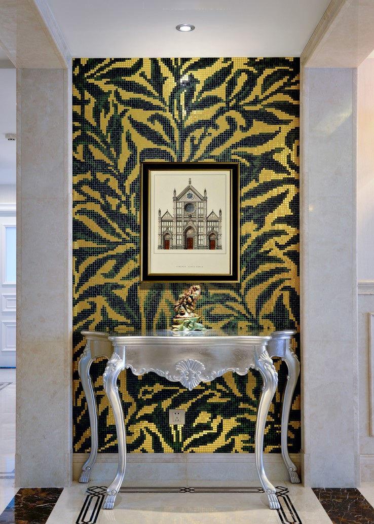 欧式新古典玄关马赛克背景墙设计装修图