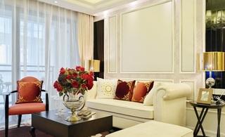 时尚白色复古简欧客厅沙发背景墙装饰