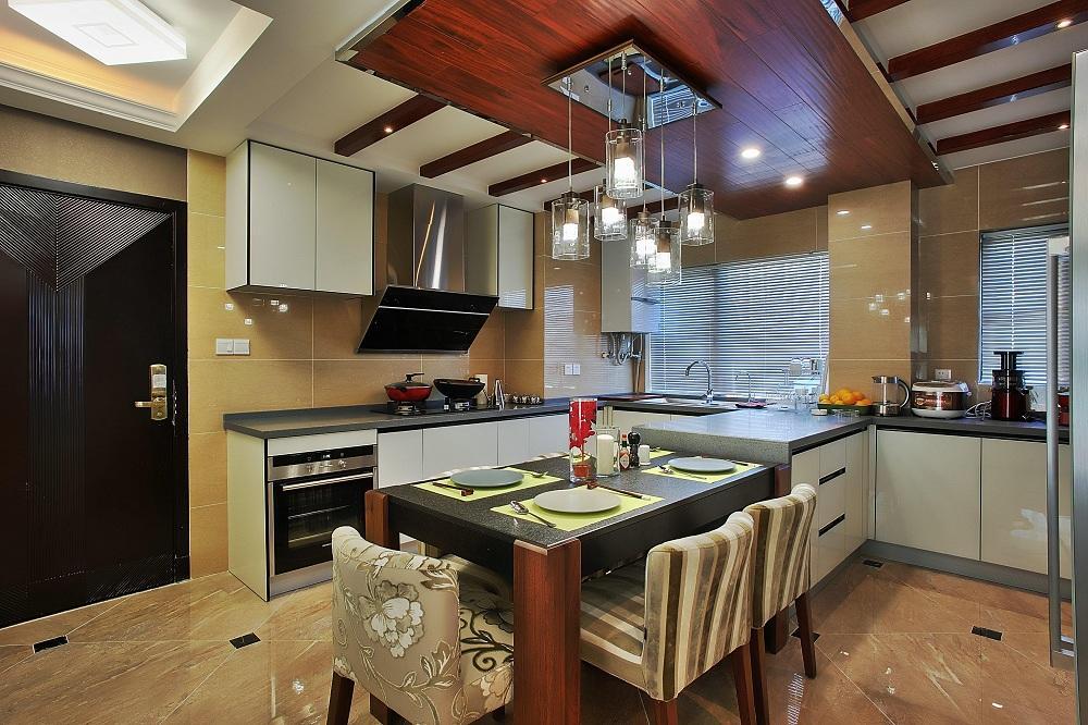 时尚现代家居厨房餐厅一体休闲吊顶设计效果图