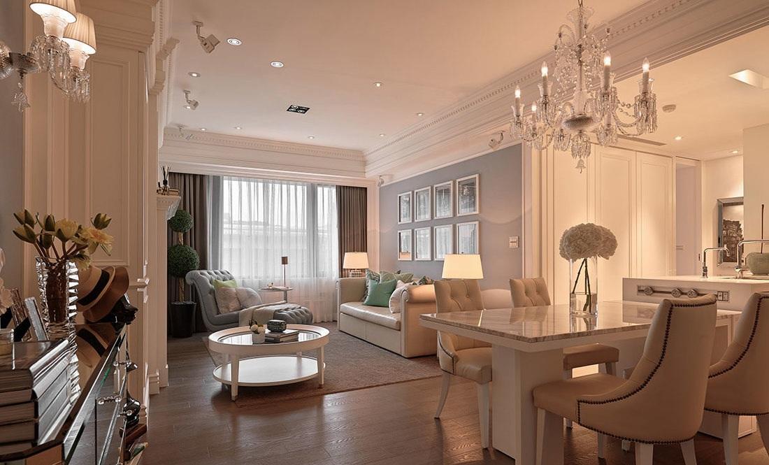 蓝白色唯美简欧风格二居室内软装装饰效果图