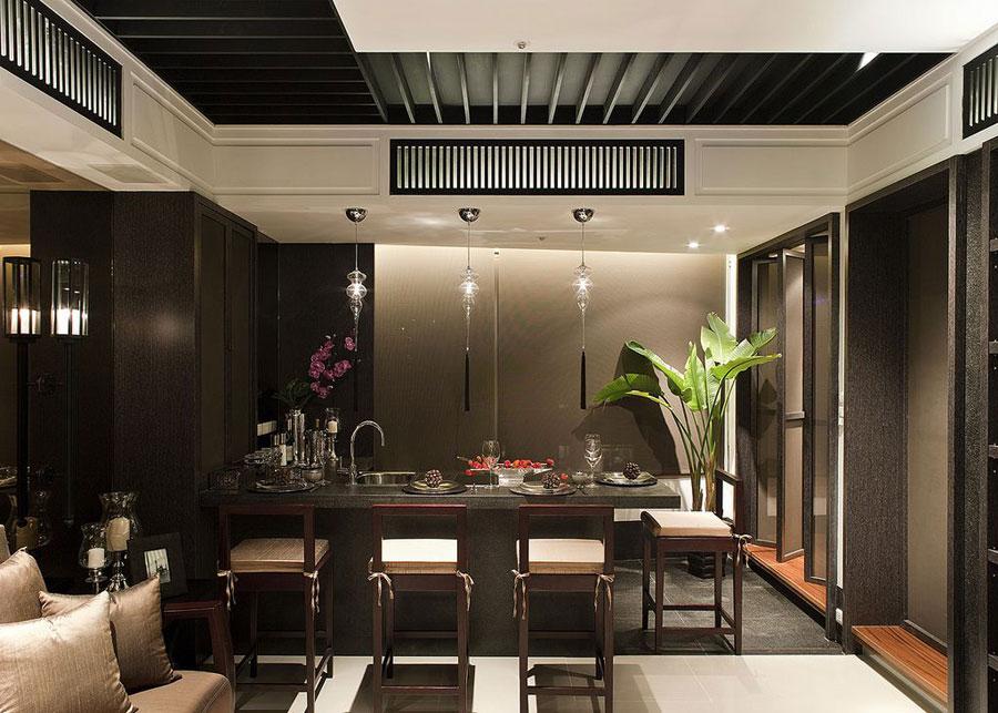 时尚高端新中式黑色吧台效果图