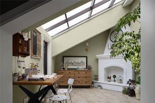 阳台茶室装修效果图_中式斜顶阁楼榻榻米茶室设计_齐家网装修效果图