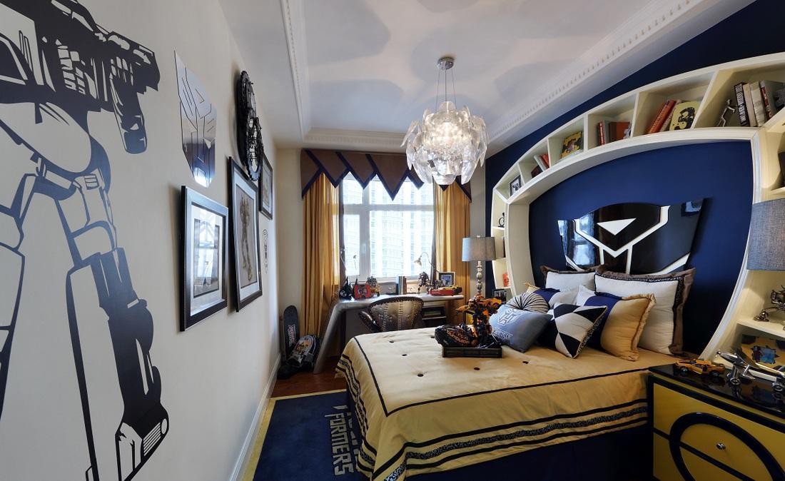 蓝色艺术混搭儿童房软装装饰效果图