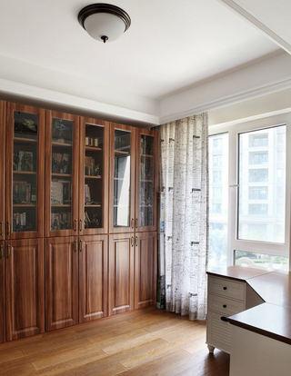 怀旧美式风格书房实木书柜效果图