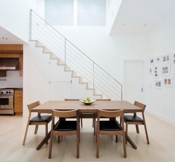 素色北欧风格复式家居餐厅装修图片