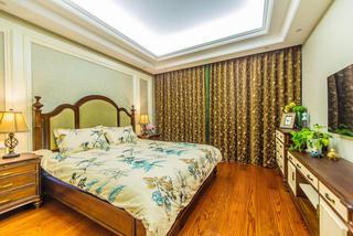 复古美式家居卧室低奢窗帘效果图
