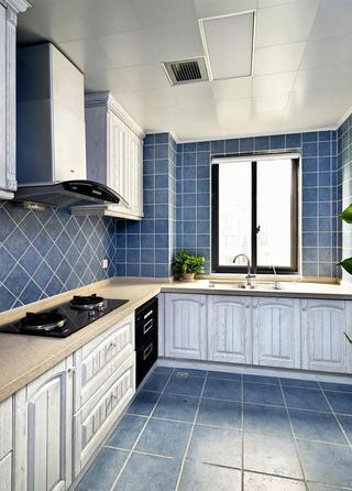 蓝色复古地中海风格厨房瓷砖效果图