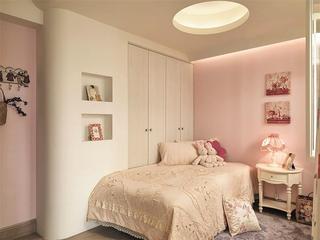 粉色鲜嫩简欧卧室吊顶装修设计图