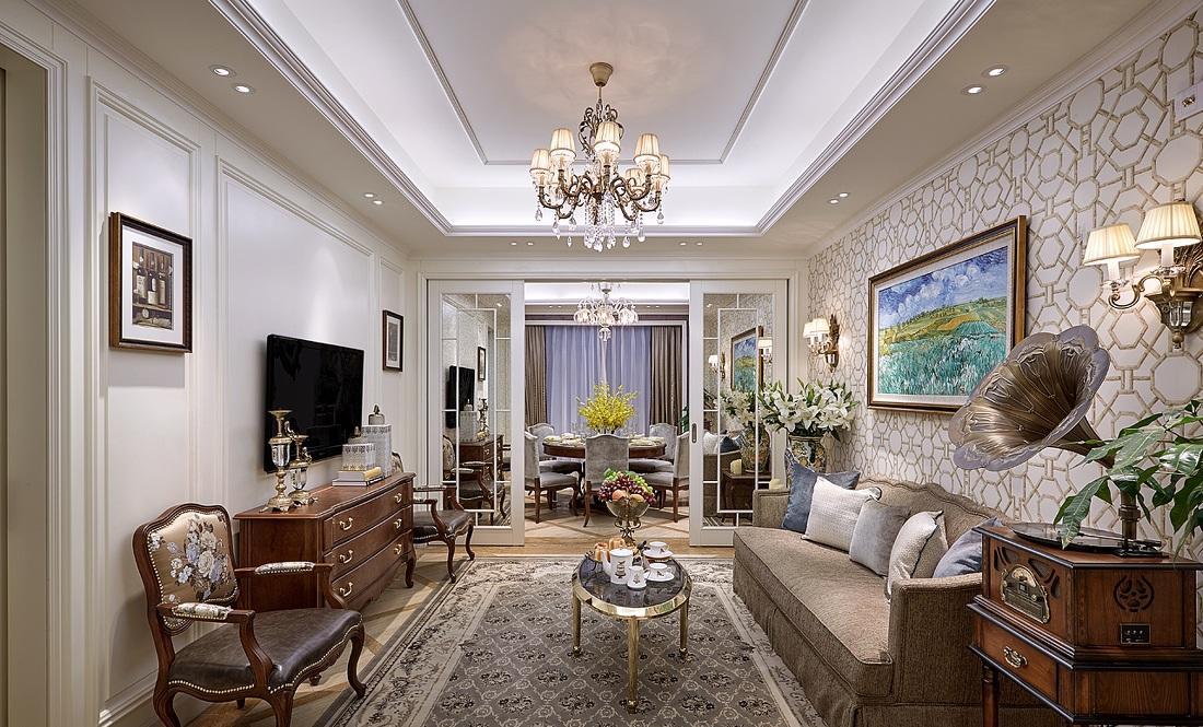 精致复古欧式小客厅背景墙吊顶效果图