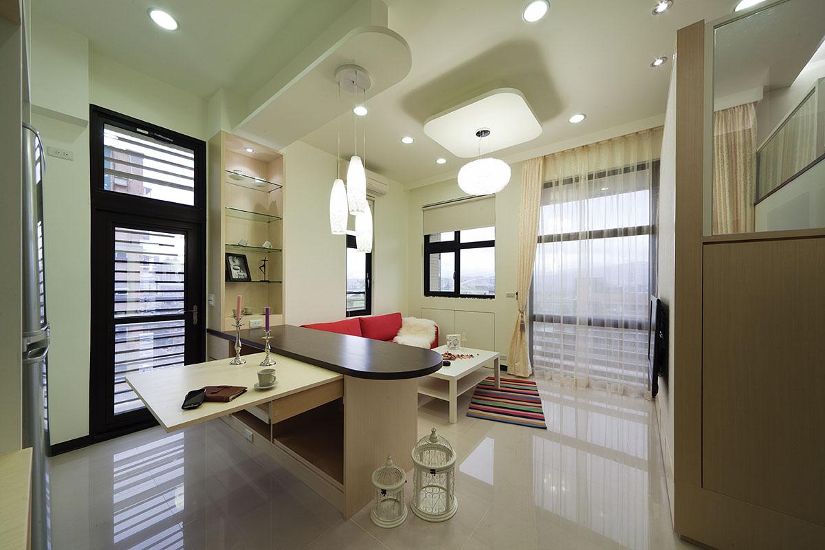 摩登现代风格复式客厅实用吧台设计图