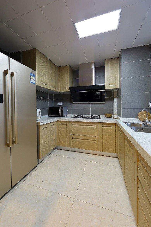 簡約現代風廚房原木櫥柜設計圖