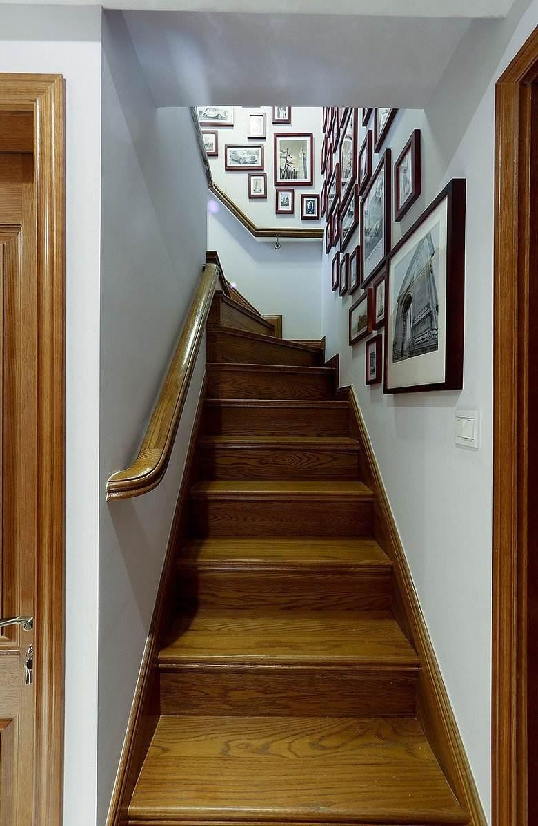 简约美式复式楼小实木楼梯效果图