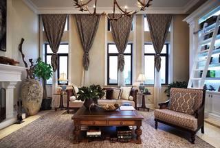 美式乡村田园风格别墅客厅窗帘效果图