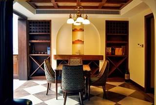 古典休闲美式别墅餐厅多功能背景墙设计图