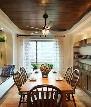 休闲美式家居餐厅原木吊顶设计图