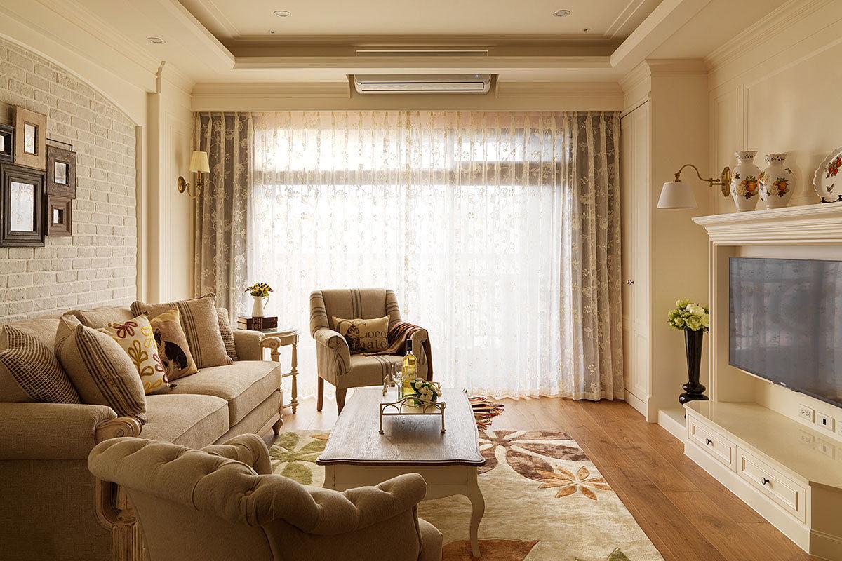 素色田园风格装修客厅窗帘设计欣赏