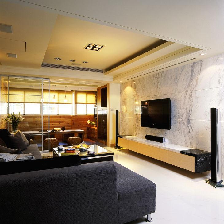 简约现代客厅大理石电视背景墙装饰图