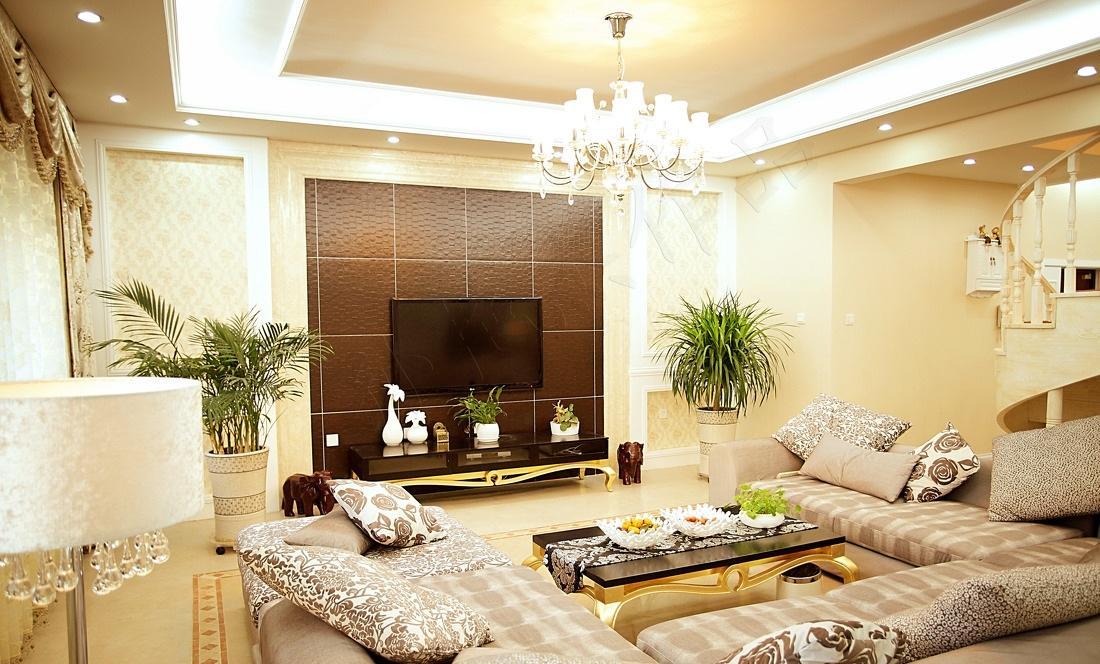 低奢简欧复式楼客厅效果图