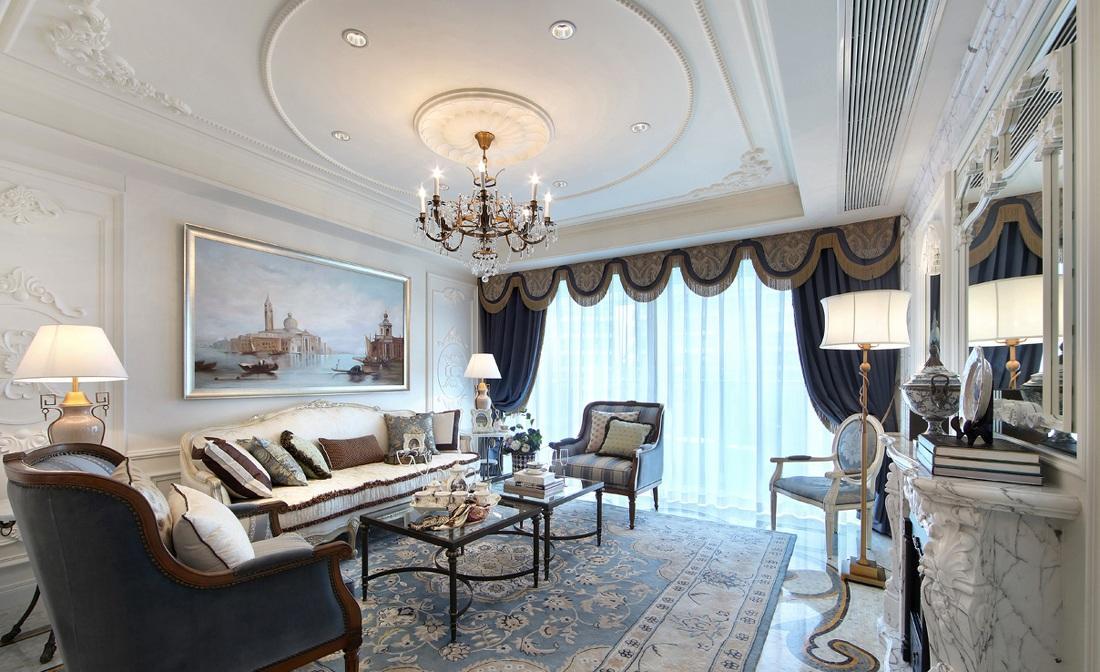 精美蓝色美式客厅效果图大全