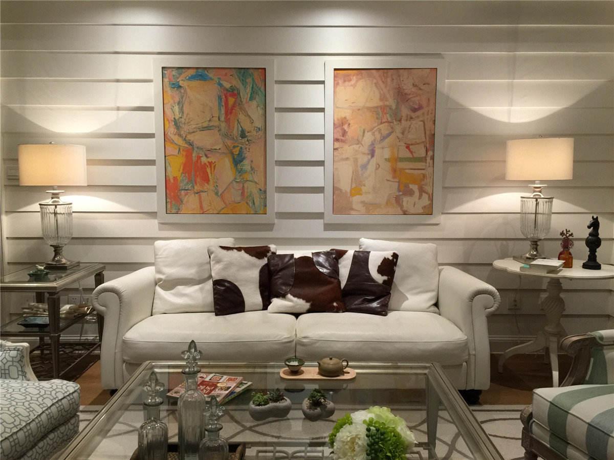 复古北欧风混搭客厅沙发背景墙装饰图片