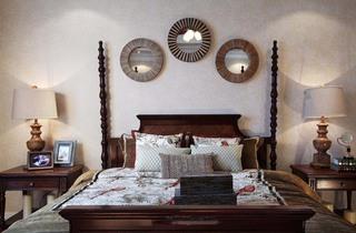 个性美式乡村田园风格卧室背景墙装饰效果图