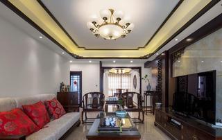 含蓄典雅简中式风格三室两厅室内装潢设计图片