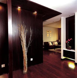大气简约咖啡色新中式风格家居玄关设计装修图