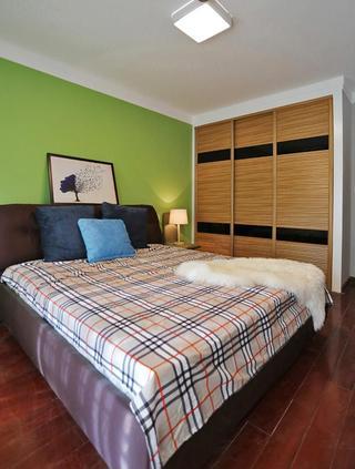 绿色小清新现代卧室背景墙装饰效果图