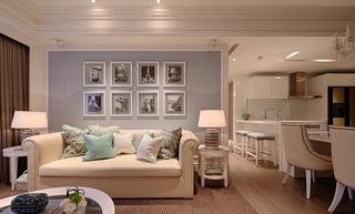 浅蓝色唯美简欧风格客厅相片墙装饰效果图