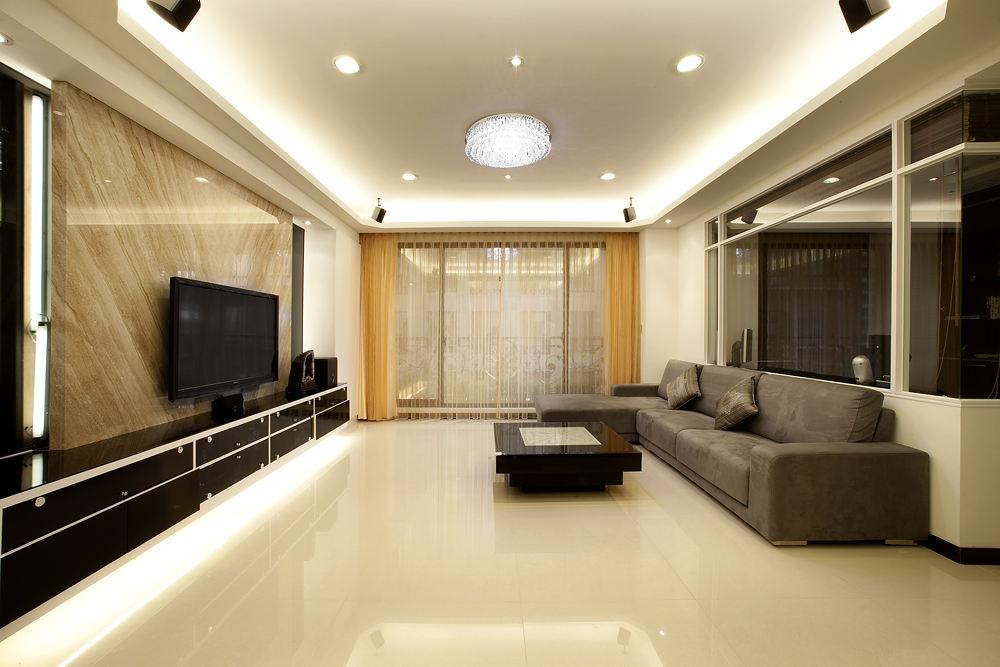时尚简约现代风客厅大理石电视背景墙欣赏
