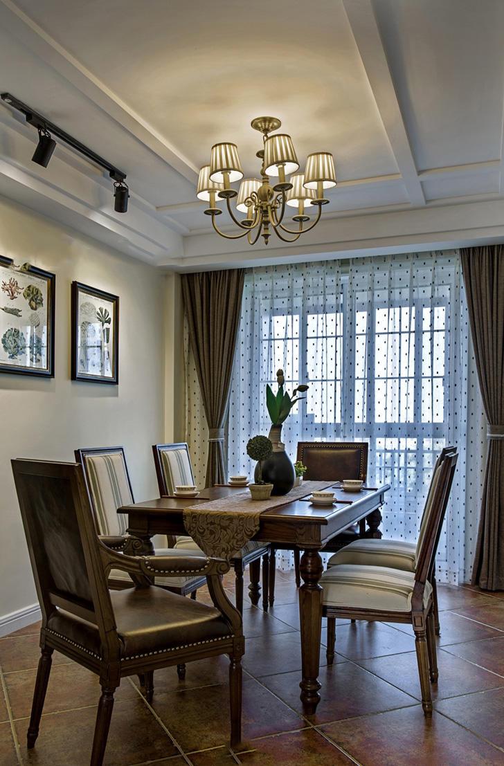 复古美式餐厅窗帘设计效果图