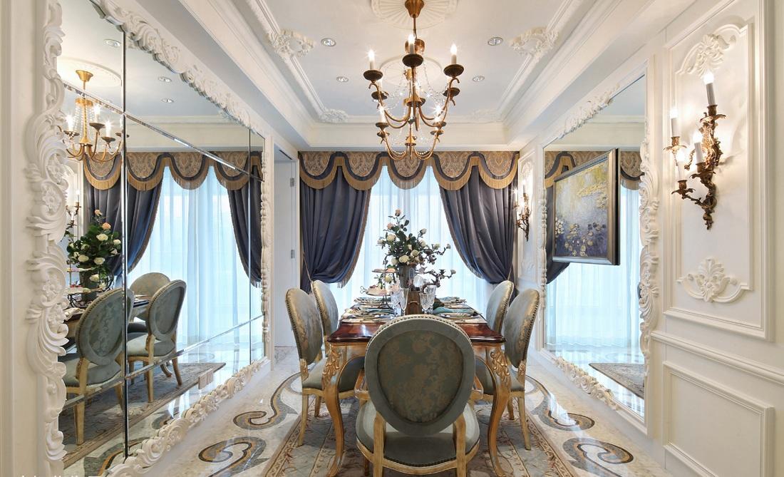 精致唯美欧式巴洛克风格餐厅雕花吊顶装饰