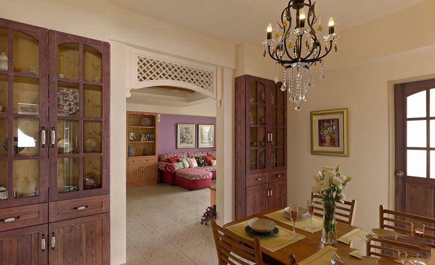 紫色唯美田园风格餐厅隔断效果图