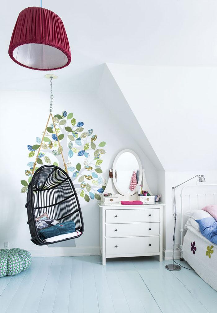 清新北欧儿童房不规则背景墙装修效果图