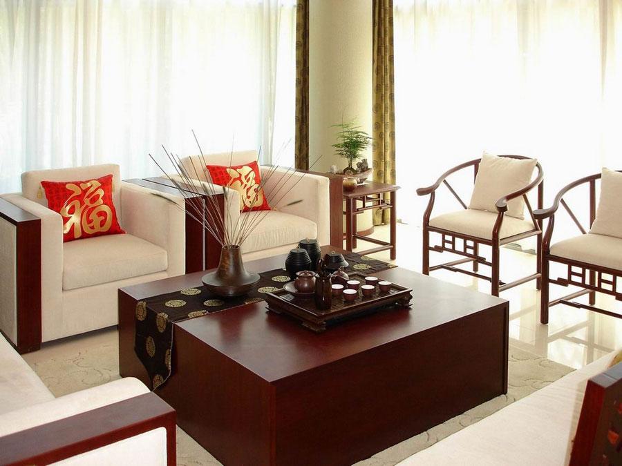 高档红木新中式装饰风格客厅家具搭配效果图