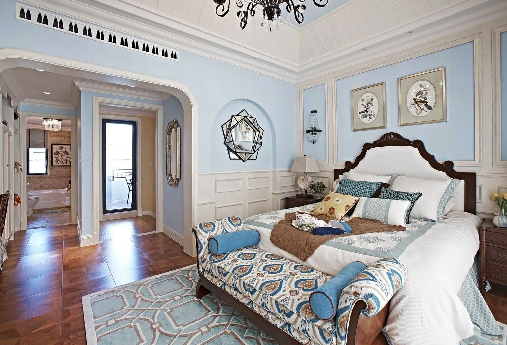 蓝白清凉欧式现代别墅卧室装修效果欣赏图