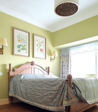 浅绿色清新田园卧室装修美图欣赏