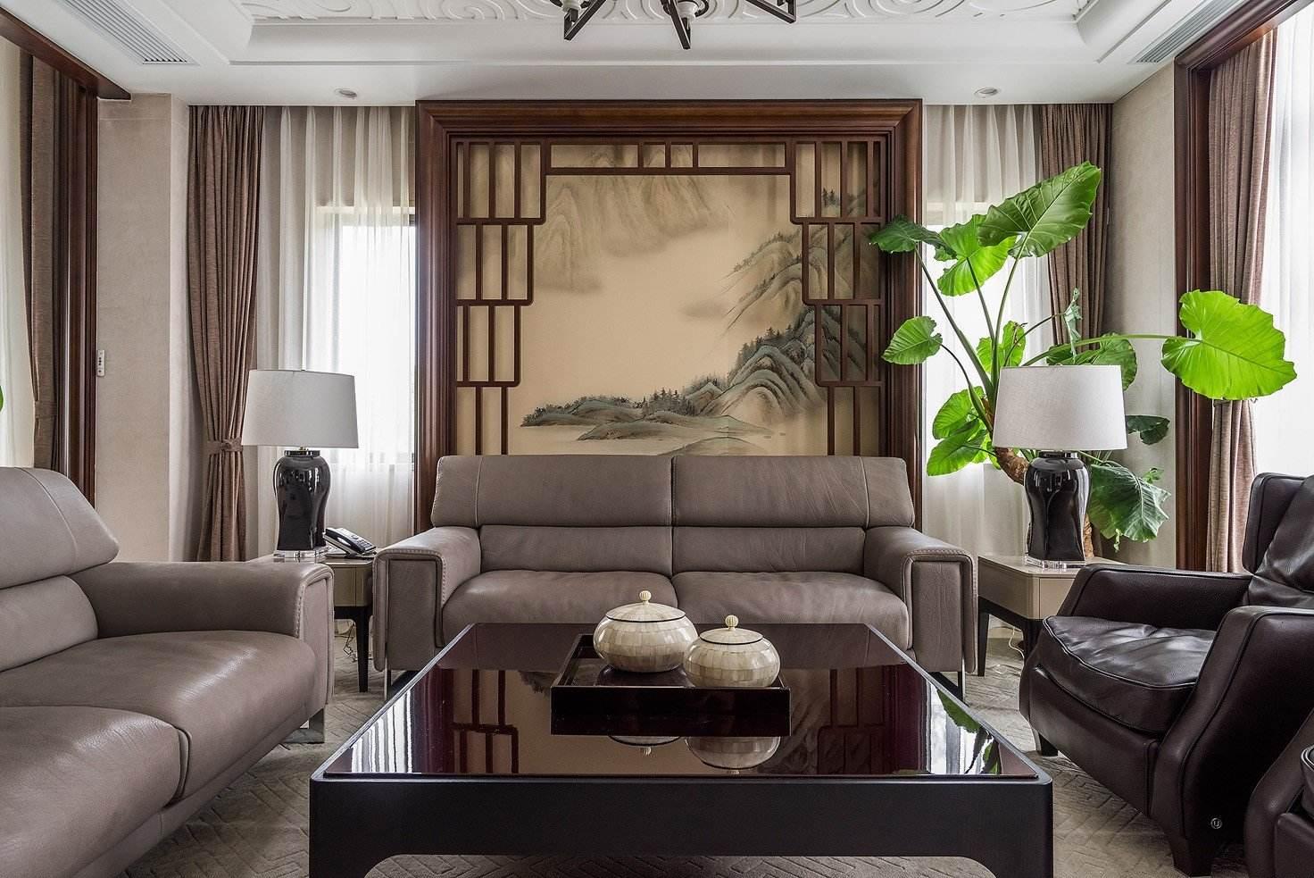 明清家具中式风格客厅仿古落地屏风装饰图
