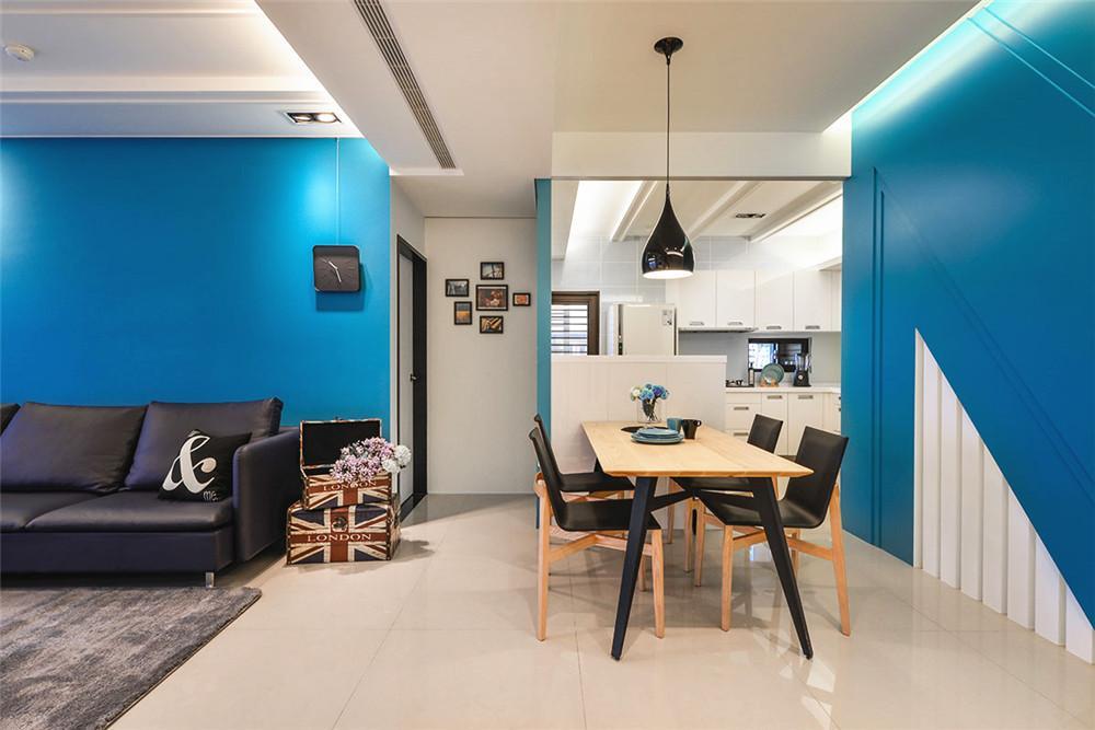 唯美蓝色现代室内餐厅背景墙效果图