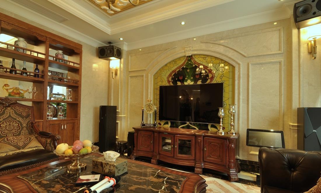 欧式古典客厅电视大气背景墙装潢效果图