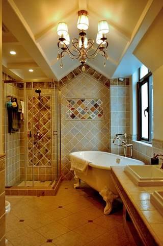 休闲舒适美式风格卫生间不规则吊顶效果图