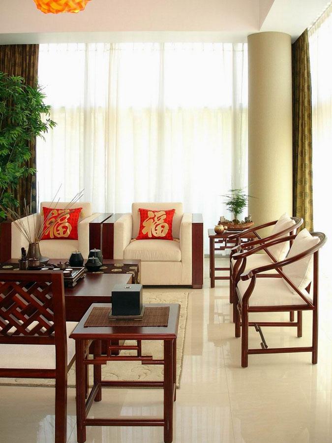 高档红木新中式装饰风格客厅圆柱设计装修图