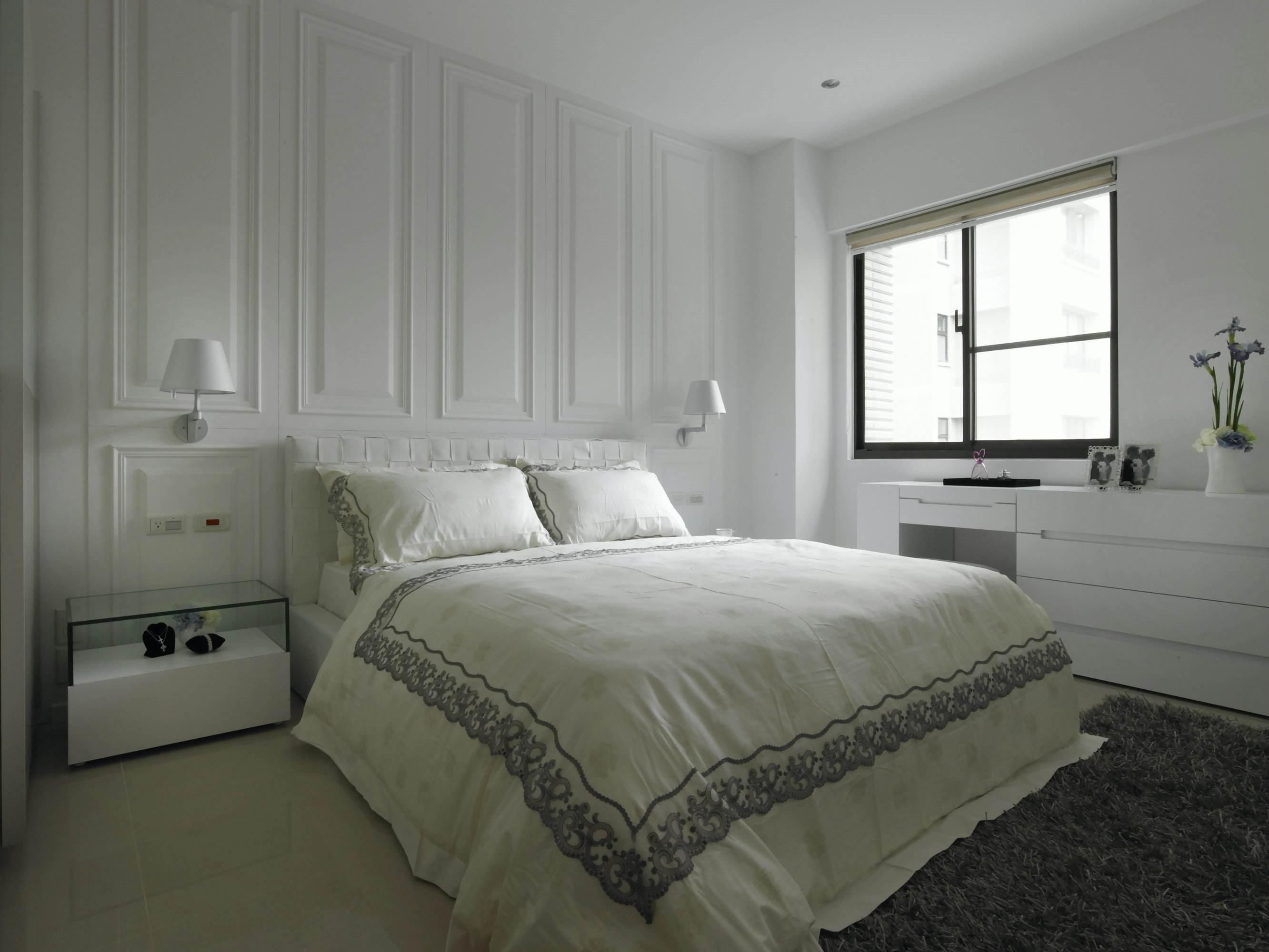 白色纯净简约现代风格卧室背景墙效果图